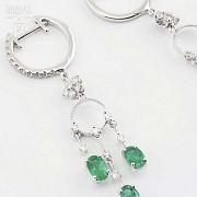 18K白金配1.46克拉祖母绿镶0.52克拉钻石耳环 - 5
