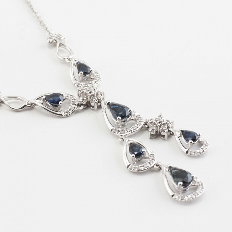 Precious necklace 18k white gold, sapphires and diamonds - 3