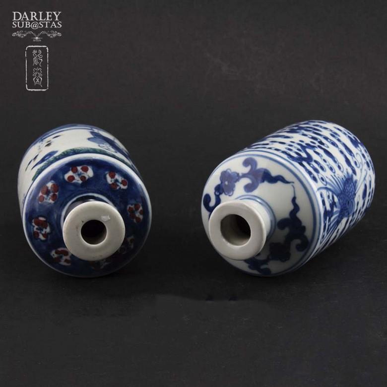 Pareja de jarrones de porcelana china, S.XIX - 5