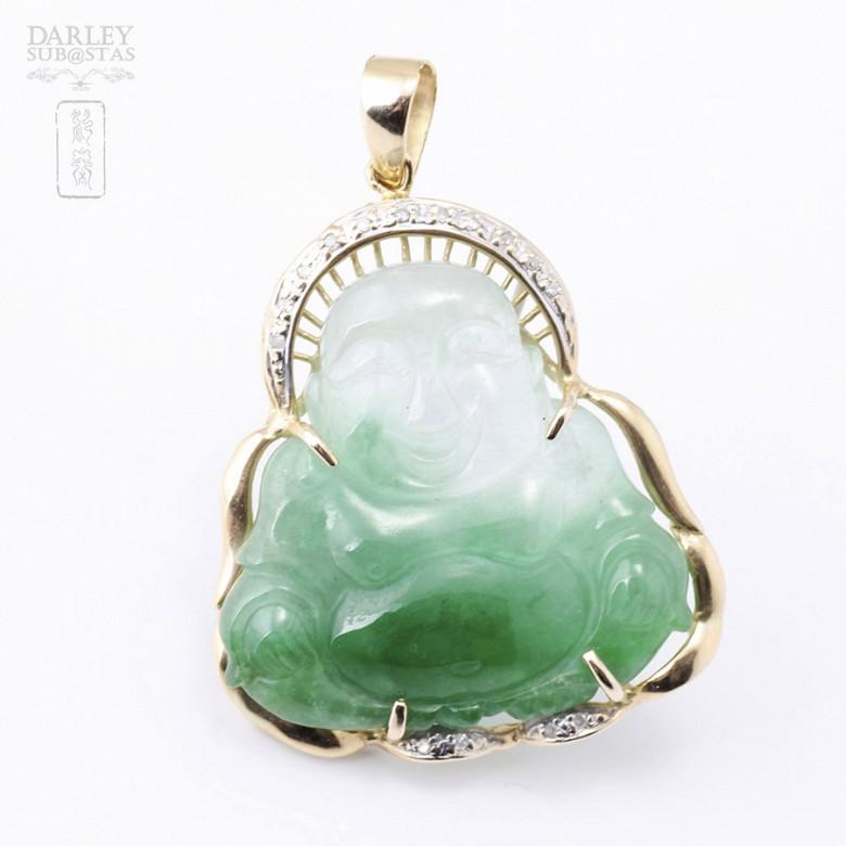 Colgante jade buda en oro amarillo de 14k y diamantes. - 2