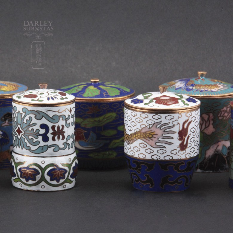 Set of 10 jars with lids Chinese cloisonne - 2