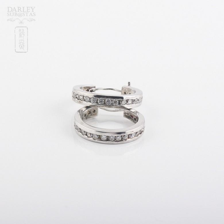 925银镀白金镶圆锆石耳环 - 3