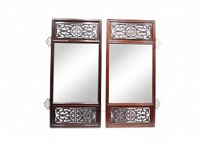 Pareja de espejos de madera tallada, China, s.XX.