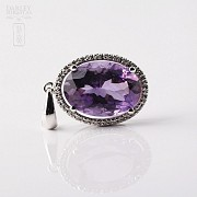 Pendant in 18k white gold with amethyst and diamonds 5.20cts. - 4