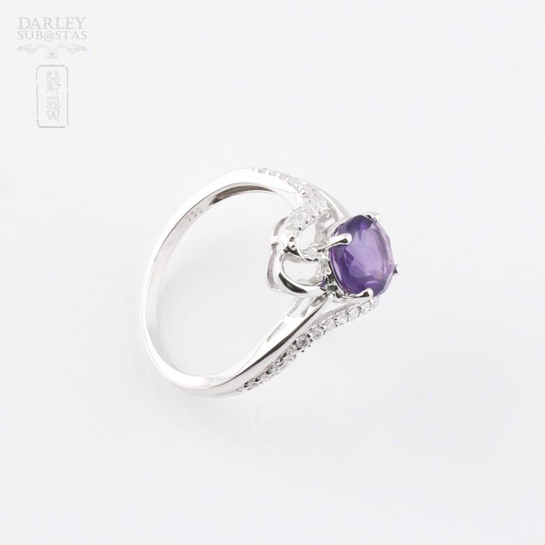 6.33克拉天然紫晶配0.20克拉钻石18K白金戒指 - 1