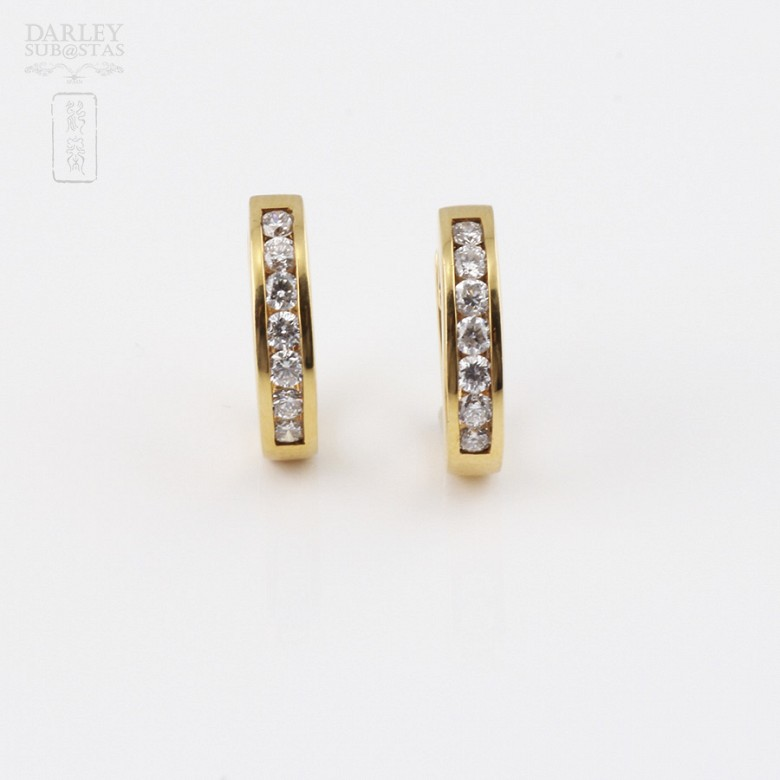 earrings  with 0.55cts diamond in 18k yellow gold - 1