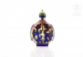 Botella de rapé de cristal de Pekín, dinastía Qing (1644-1912)