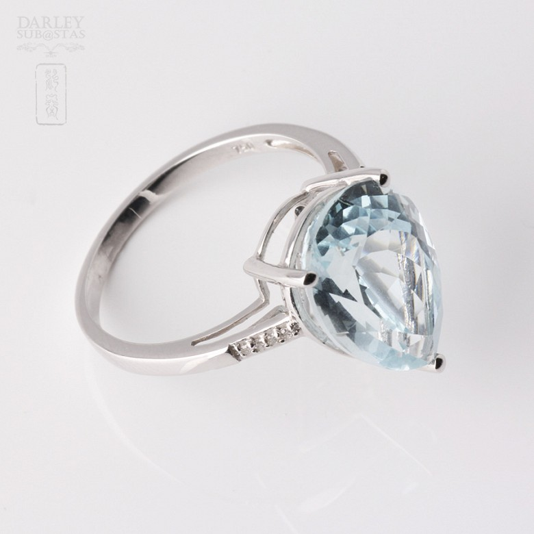 Ring in 18k White Gold with  4.19cts Aquamarine and Diamond - 4