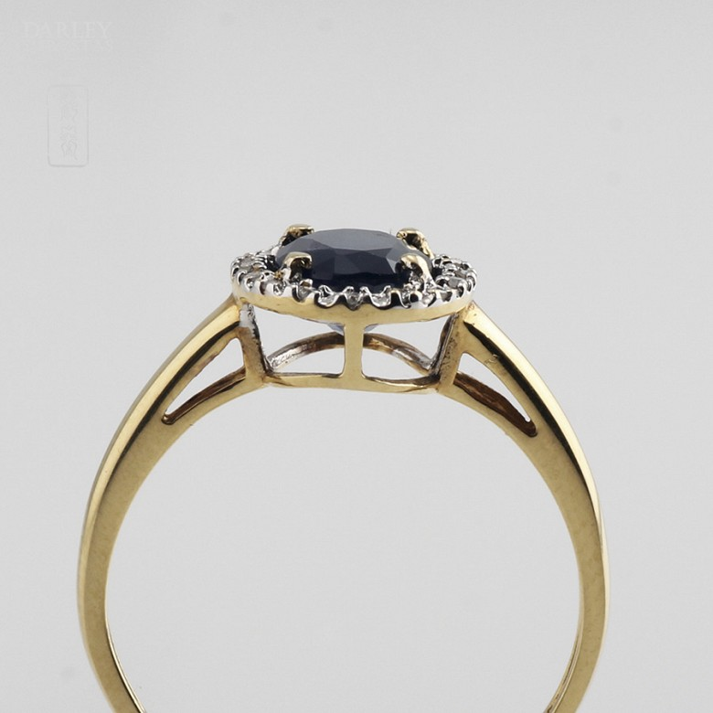 Ring with Sapphire and diamond  in yellow gold - 4
