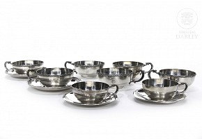 Sterling silver cups and saucers, 916, punched, 20th century