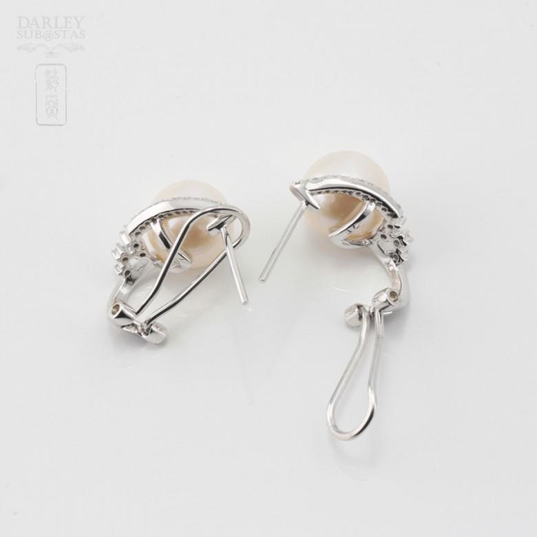 Precious pearl and diamond earrings - 3