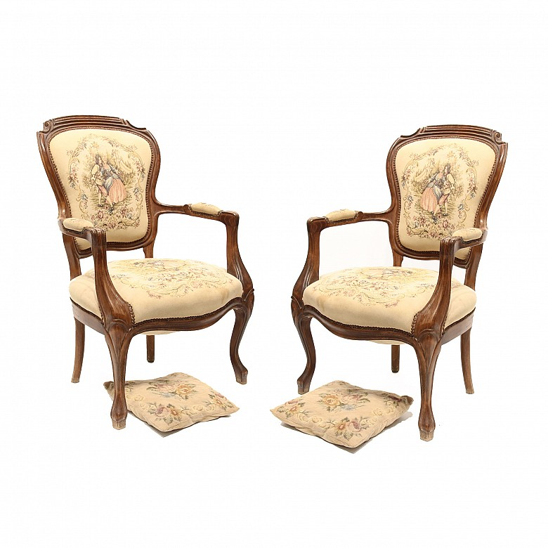 Pair of armchairs with upholstery and cushions Aubusson style, 20th century