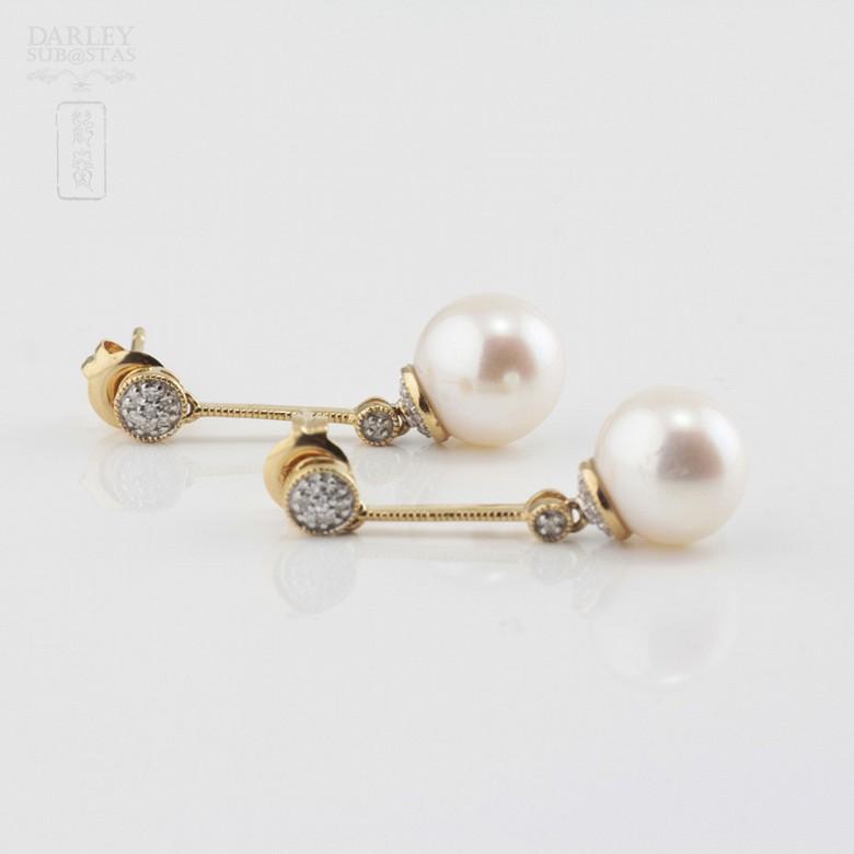 Bonitos pendientes con perla y diamantes - 2