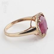 3.24克拉天然红宝石配钻石18K玫瑰金戒指 - 1