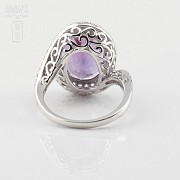 0.61cts beautiful ring with diamonds and amethyst in 18k White Gold - 3