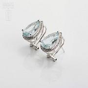 4.81克拉海蓝宝石配钻石18K白金耳环