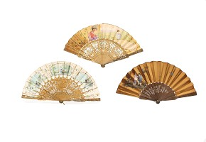 Lot of three fans with wooden linkage, 19th century