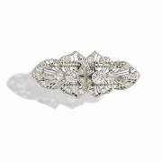 Platinum plate brooch with diamonds