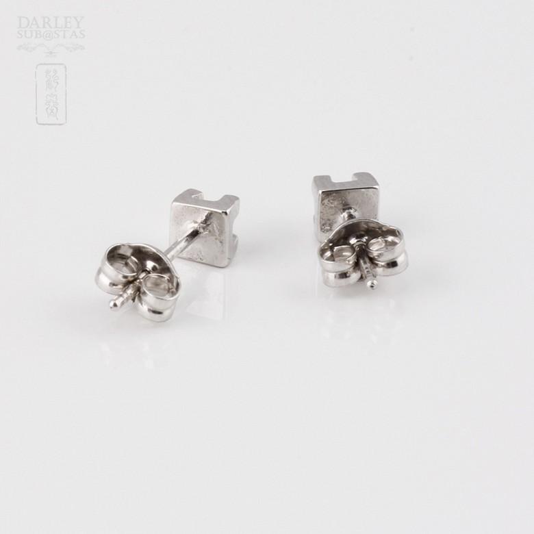 Pareja de pendientes 0.12cts diamantes en oro blanco de 18k - 2