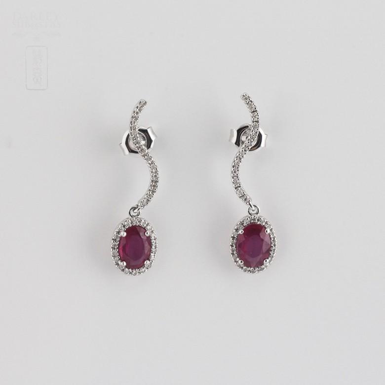 2.18克拉天然红宝石配钻石18K白金耳环 - 3