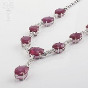 Necklace in 18k White Gold  38 cts of rubies and diamonds - 5