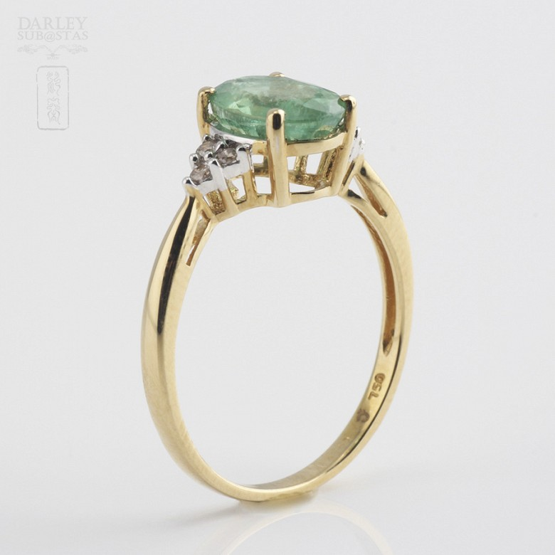 Ring emerald  1.78cts and diamond 18k yellow gold - 3