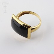 ring Natural onyx  in 18k yellow gold - 3