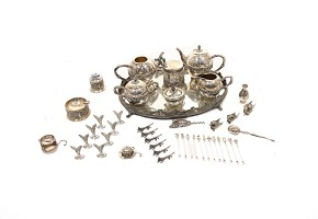 Tea set and silver board game, 20th century