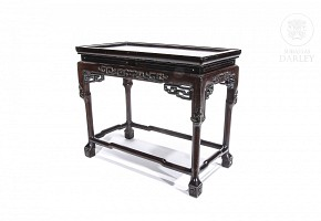 Chinese carved wood side table.