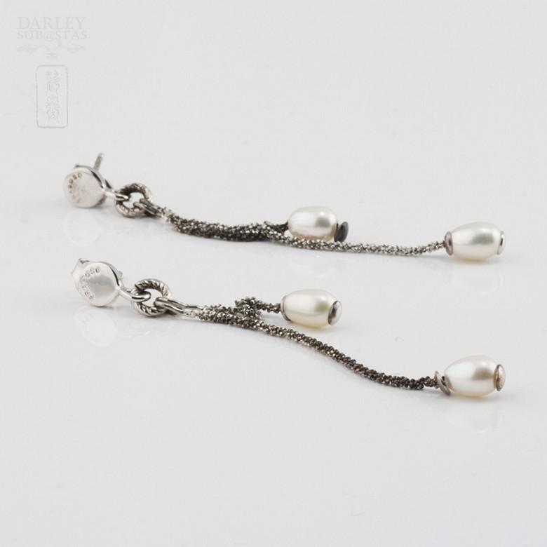 Pendientes en plata y perlas - 2