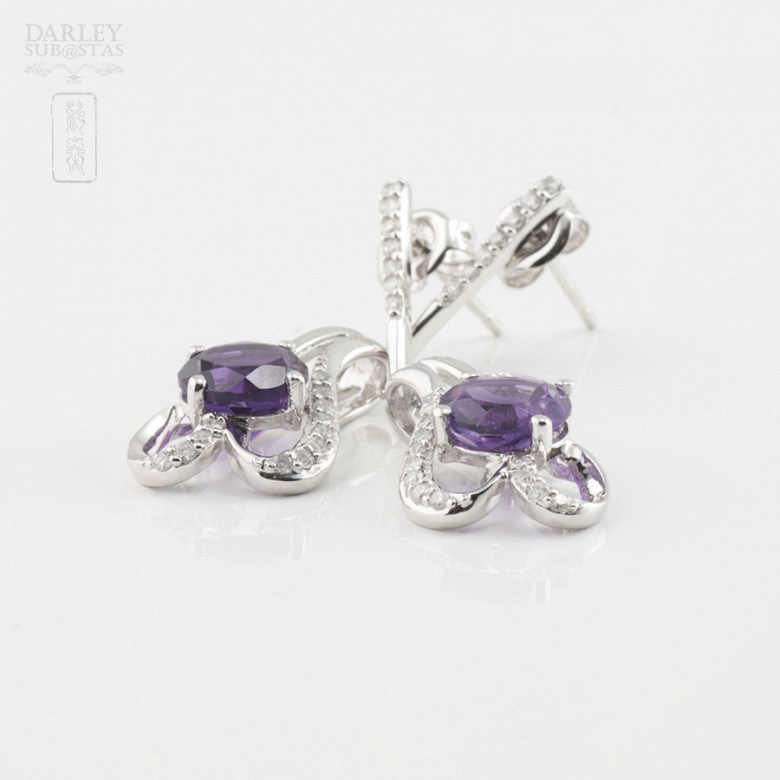 18K白金镶钻石配紫晶耳环 - 2