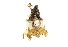 Gilt bronze and marble table clock, Barbot Paris, 19th century