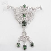 Aderezo de Fallera verde Esmeralda y plata Rodiado - 1