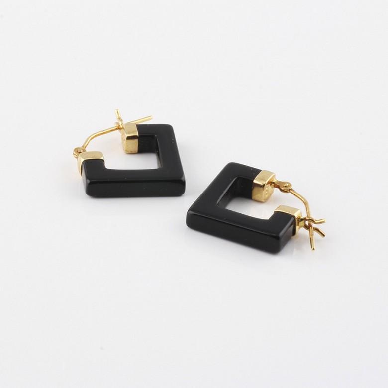 天然黑玛瑙配18K黄金耳环 - 1
