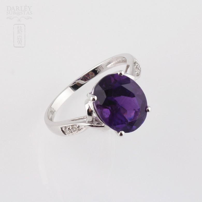 3.08克拉天然紫晶配钻石18K白金戒指 - 1