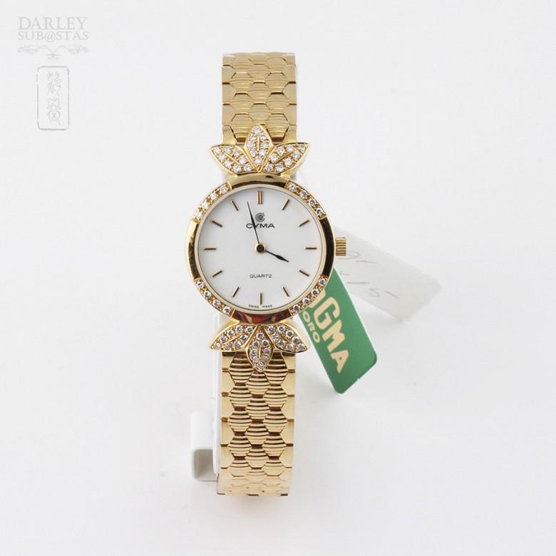 Cyma Lady Gold Watch with 70 Diamonds (new)