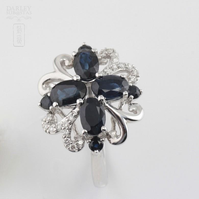 Fantástico anillo zafiro y diamantes - 2