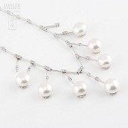 necklace with  Natural pearl and diamonds  in 18k - 3