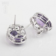 Earrings with amethyst 10.20 cts  and diamonds in white gold - 3