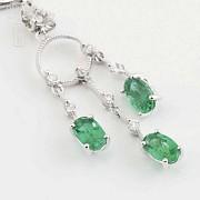 Earrings in 18k white gold, emeralds and diamonds - 7