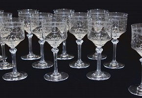 Bohemian glassware, cut glass, 20th century