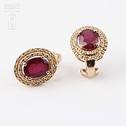 Earrings  5.11 cts ruby and diamond in 18k rose Gold - 2