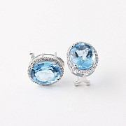 Earrings Blue Topaz 12.44 cts   and diamonds in 18k White Gold - 3