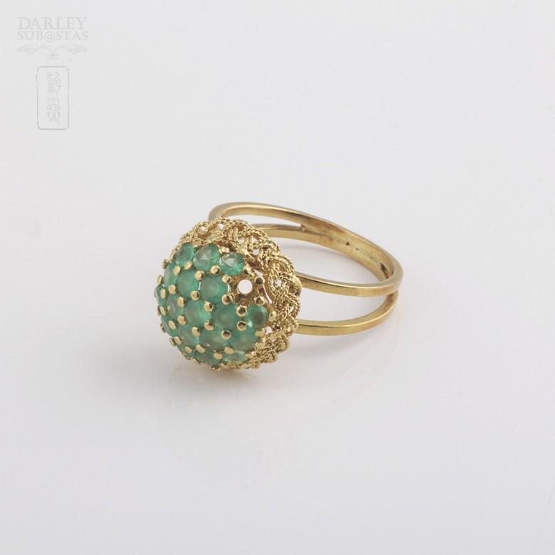 1.5克拉祖母绿18K黄金戒指