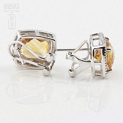 Beautiful earrings in 18k white gold with diamonds and citrine - 1