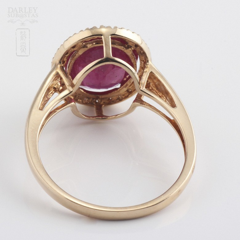 Ring with ruby 3.24cts and diamonds in 18k rose gold - 2