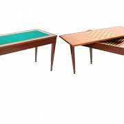 Veneered wooden game table, Louis XV style, 20th century
