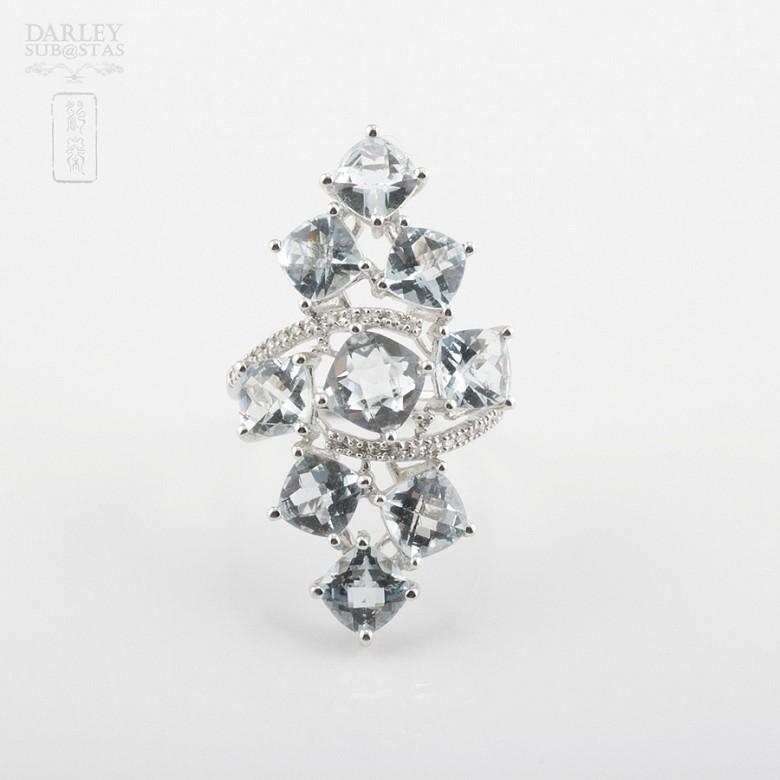 18K白金嵌7.42克拉海蓝宝石镶钻石戒指 - 1
