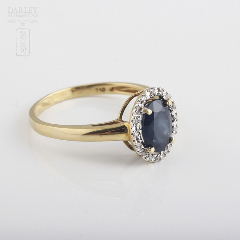Ring with Sapphire and diamond  in yellow gold - 1