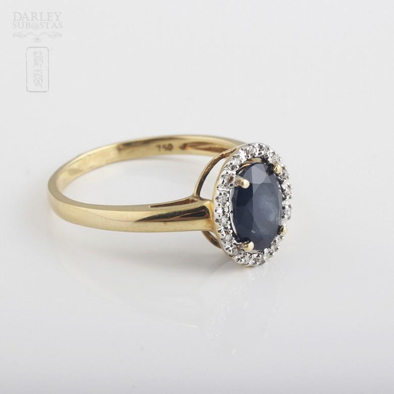 1.61克拉天然蓝宝石配钻石18K黄金戒指 - 1